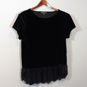 Adrianna Papell   Velour and lace top